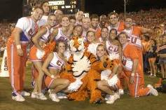 College Cheerleaders w/ Tiger Mascot